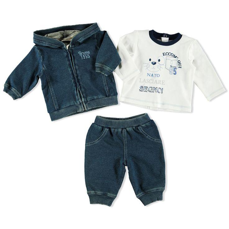 Brums - Completo t-shirt felpa e pantalone indigo - Brums