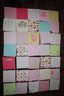 The One With the Cupcakes: The One with Ellie's Memory Quilt...Memory quilt from old baby clothes.