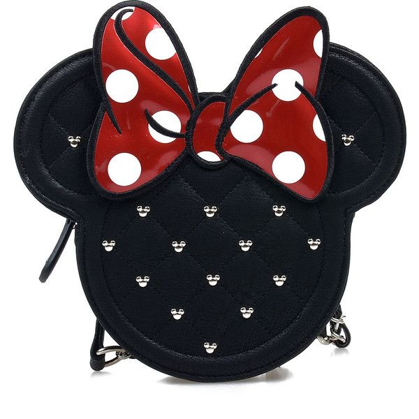 Black & Red Minnie Mouse Die Cut Quilted Crossbody Bag found on Polyvore