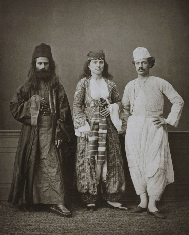 Ottoman Cyprus~ Traditional clothing of (from right to left) a Christian resident of Ammochostos (Famagusta, Cyprus), a Christian woman of Magossa, and a Greek monk of the ...