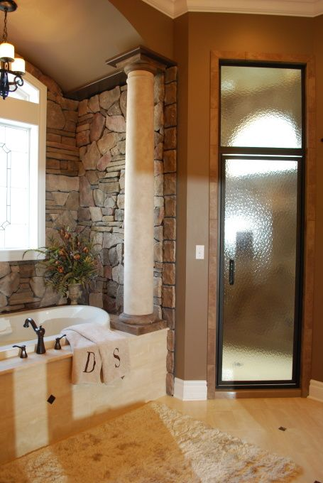 tub: Bathroom Remodel Addition, Steam Shower, Stones Wall, Shower Doors, Dreams Bathroom, Bathroomdesign, Bathroom Designs, Master Bathrooms, Bathroom Ideas