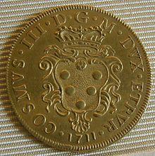 Nobiltà fiorentina ~ Stemma mediceo con corona granducale, su una doppia d'oro dell'epoca di Cosimo III (1670-1723)