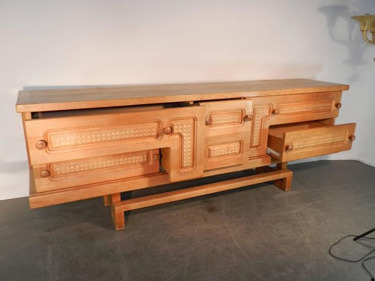 Guillerme & Chambron Rare Large Oak Sideboard with Sliding Doors and Drawers 8