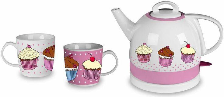 Efbe Schott TKG JK 1006 SET Cupcake-Design Keramik Wasserkocher