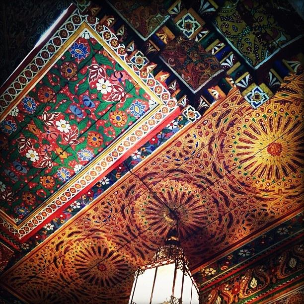 The stunning ceiling of the Palais de la Bahia, Marrakech. (Photo by @Kirsten Alana )