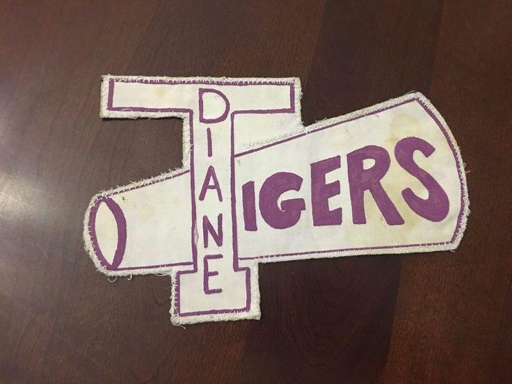 """Big Vintage Letterman Patch Varsity Cheer """"Diane Tigers"""" Megaphone Americana"""