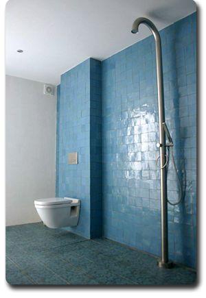 Meer dan 1000 idee n over blauwgroene badkamers op pinterest groene badkamertegels groene - Badkamer blauw ...