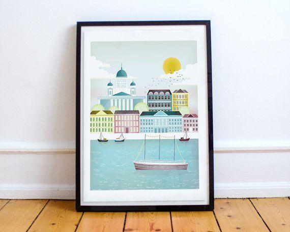 Helsinki Print Finnish Art Scandinavian Print City Etsy Scandinavian Print City Skyline Art Illustration Wall Art