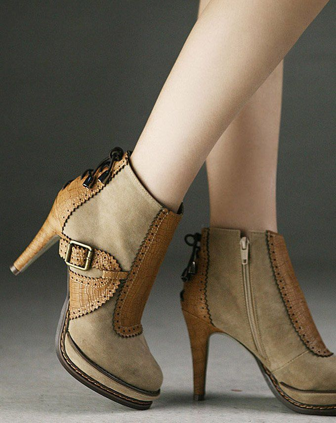 Fashionable Platform Stiletto Heels Ankle Boots With Buckle Ankle Boots