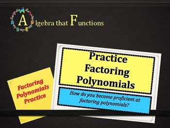 Algebra that FunctionsPolynomials: Adding, Subtracting, Multiplying PracticeMy Polynomials: Adding, Subtracting, Multiplying Practice product  has a total of 50 polynomial expressions with no prep required by you!  The expressions include binomials, trinomials, and special cases.