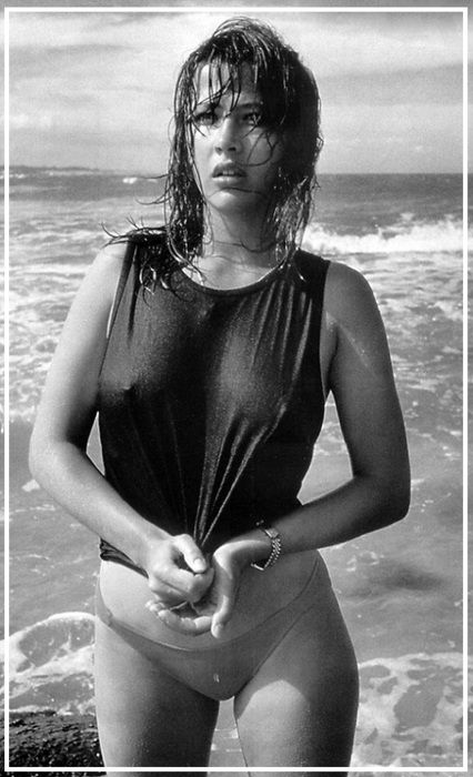 Sophie Marceau (French actress since 1980 La Boum) (b. 1966 Nov 17) in wet swimwear • also author/screenwriter/director • starred in Braveheart (1995) + Firelight (1997) + The World Is Not Enough (1999) • proof of the American, hm, French Dream: sublime beauty & career born from shop assistant mother Simone & truck driver dad Benoît Maupu, divorced when 9–could've easily fallen into depression as actress/singer Isabelle Adjani (b. 1955) • married to Christopher Lambert! 2012