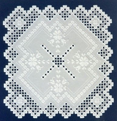 Hardanger Pattern Packet 2 Patterns Winter Rose and Sweetheart Rose Doily | punto antico