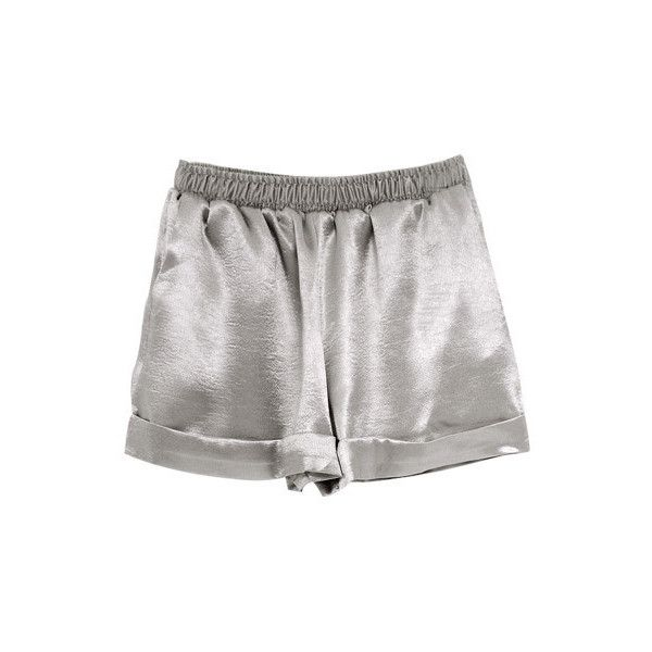 Silky Shorts Silver (£15) ❤ liked on Polyvore featuring shorts, bottoms, pants, short, silver shorts and short shorts
