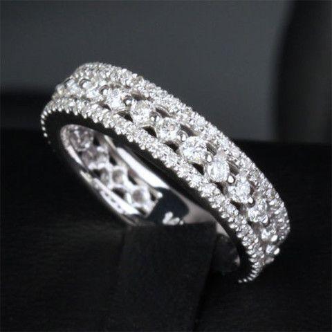 Diamond Eternity Wedding Ring Anniversary Ring in 14k White Gold - .72ct