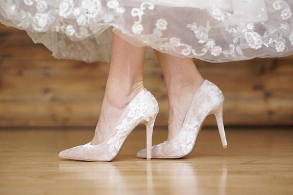 Champagne Wedding Shoes Velvet Heels Bridal Heels Velvet Wedding