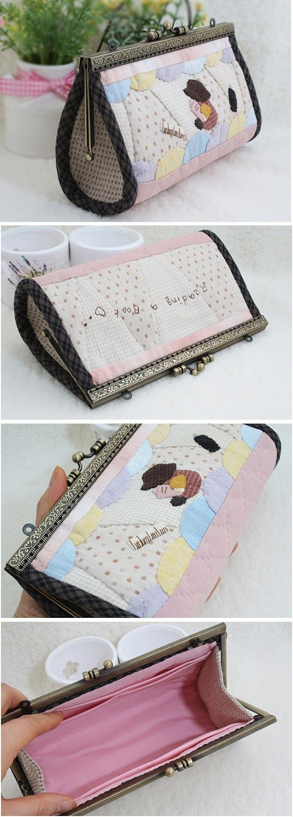 Women bags Patchwork tie-fabric clutch.  DIY step-by-step tutorial. Косметичка или клатч в технике пэтчворк. http://www.handmadiya.com/2015/08/patchwork-purse-clutch-diy-tutorial.html