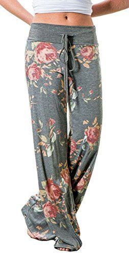 b63df14f65c01 Elsofer Women's Pajama Lounge Pants Floral Print Comfy Casual ...