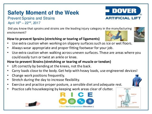 Prevent Sprains and Strains. Alberta Oil Tool's #Safety Moment of the Week 17-Apr-2017