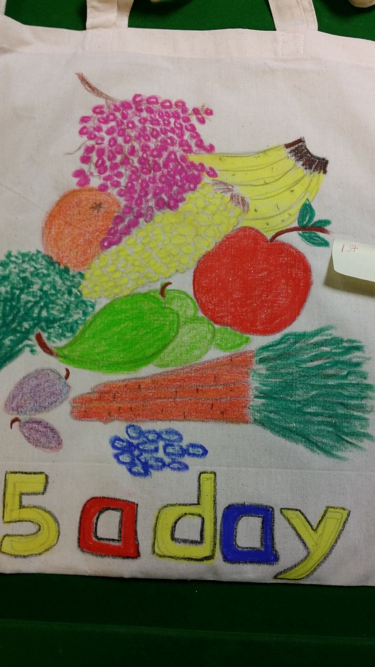 This fruity 5 a day bag was decorated on both sides and won 1st prize in our canvas shopper competition.