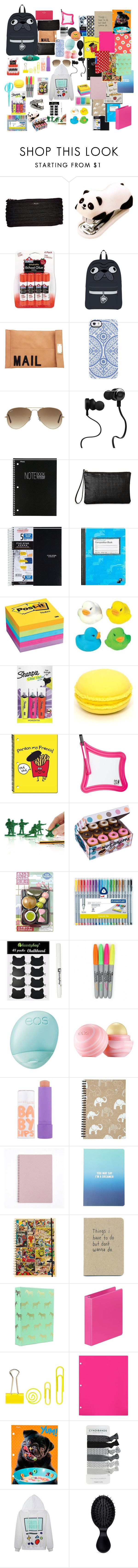 """""""back to school supplies 2"""" by molleighderp ❤ liked on Polyvore featuring Akira, Uncommon, Ray-Ban, Monster, Mead, Post-It, Target, C.R. Gibson, Mustard and Eos"""