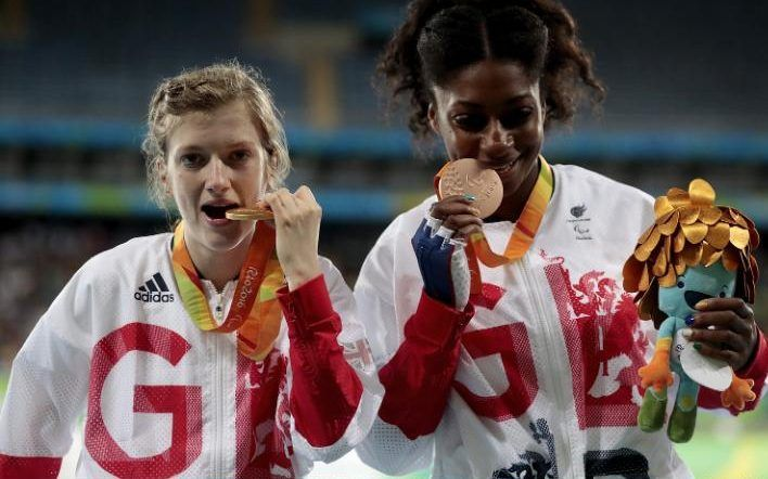 Kadeena Cox (right) wins bronze in T38 100m - shown here with Team GB  Gold medal winner  Sophie Hahn