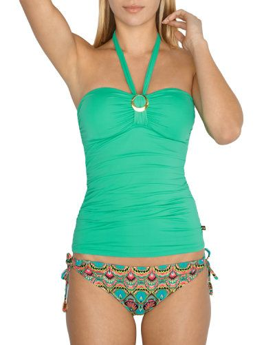 Mint Green Tankini Top & Paisley Print Side-Tie Bikini Bottom - La Vie en Rose Aqua swimwear - Fun & Bright collection