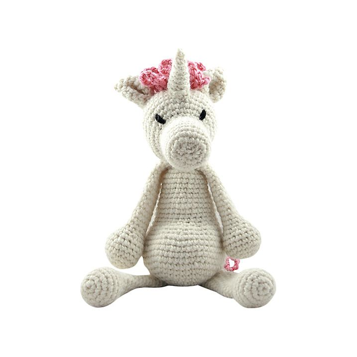 Part of the Edward's Menagerie collection of amigurumi crochet toys designed by best-selling author Kerry Lord, this kit is suitable for complete beginners and contains everything you'll need to crochet Chablis the Unicorn. It includes 100g of Toft's luxury British yarn in 'cream' and 25g of 'pink' along with the hi-loft polyester toy stuffing to fill your animal, a length of black yarn for the eyes, a 3mm crochet hook, a wool needle for sewing up and step-by-step instructions to guide you…