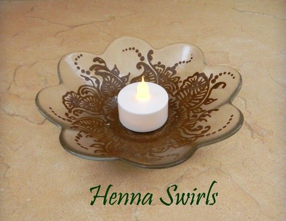 Luminescent Candle Dish decorated with Henna Mehndi by mehndiart09, $30.00
