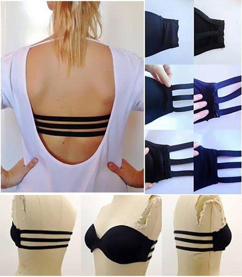 Puedes hacer un sostén para aquellas blusas de escote amplio en la espalda, y así lo puedes hacer lucir lindo aunque esté a la vista. Corta la parte trasera y cósele tiras de esta manera.