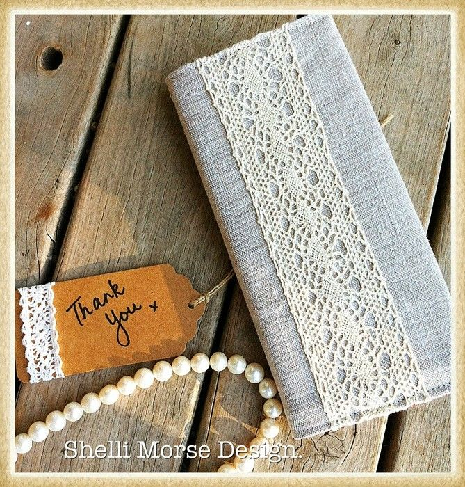 Linen and Lace covered notebook | Shelli Morse Design | madeit.com.au