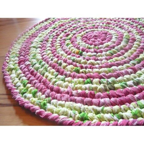 """25"""" Round Rag Rug Bright colors Upcycled cotton fabric"""