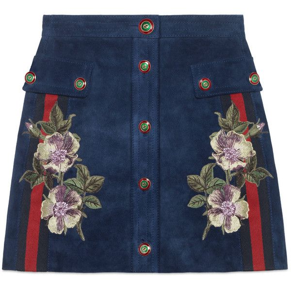 Gucci Embroidered Suede Skirt ($2,325) ❤ liked on Polyvore featuring skirts, ready-to-wear, women, floral knee length skirt, gucci, floral printed skirt, floral a line skirt and blue suede skirt