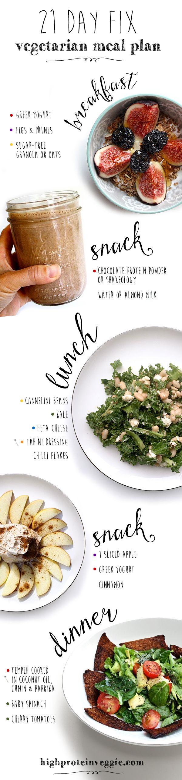 21 day fix vegetarian meal plan. Click to see more! #21dayfix #mealplan #vegetarian