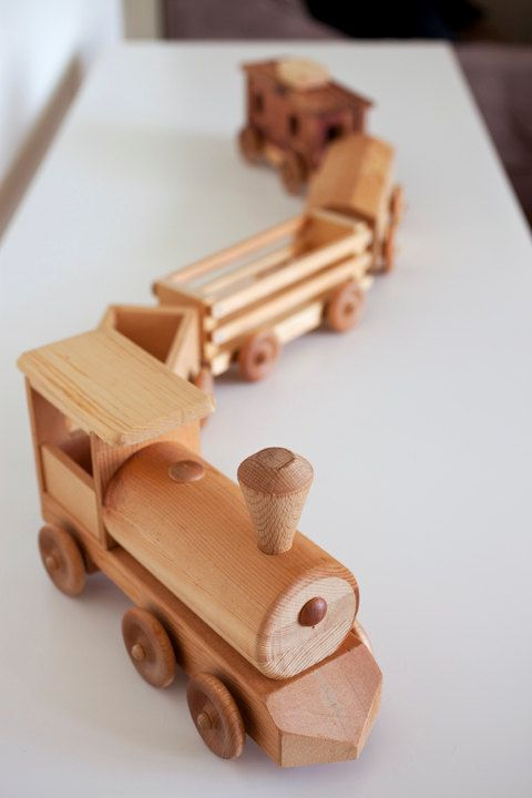 Handcrafted Wooden Toy Train Set by delcraftSF