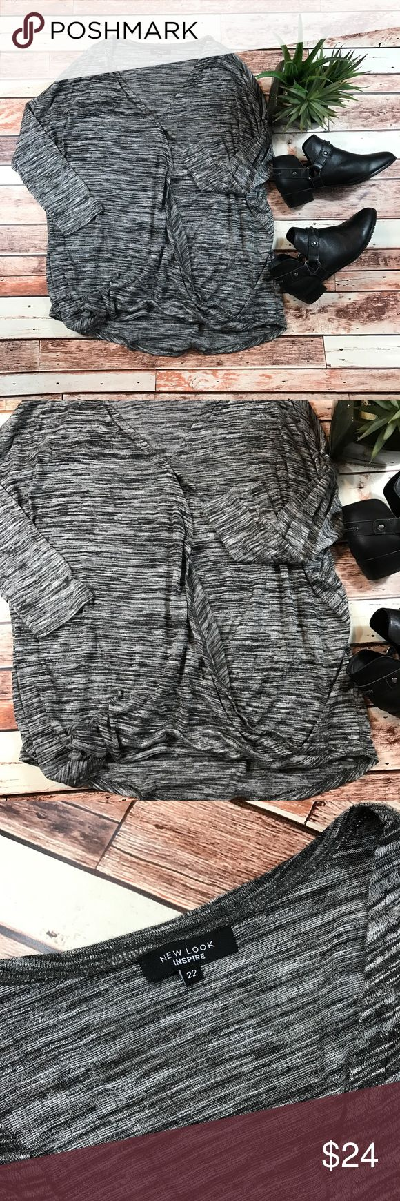 New look gray casual long sleeve top Size 22 in excellent condition, no flaws! Perfect for the fall! Length-30, bust-28 pit to pit ***NO modeling or trades!! ::196 New Look Tops Blouses
