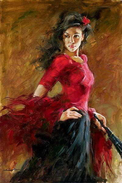 """""""A Dançarina do Leque"""" - Pintura a óleo de Andrew Atroshenko"""