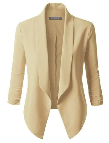 Whether you are going to work or to a late night dinner, this open front long sleeve tuxedo blazer jacket is a must! Made of a stretchy and soft material for comfort, this blazer will instantly make any outfit look more classy. Pair this comfortable blazer with pants or skirts. Feature 70% Polyester / 24% Rayon / 6% Spandex Mediumweight, stretchy material for comfort Double stitching on sleeves and bottom hem / No closure Dry clean only Made in U.S.A Please look at the measurem...