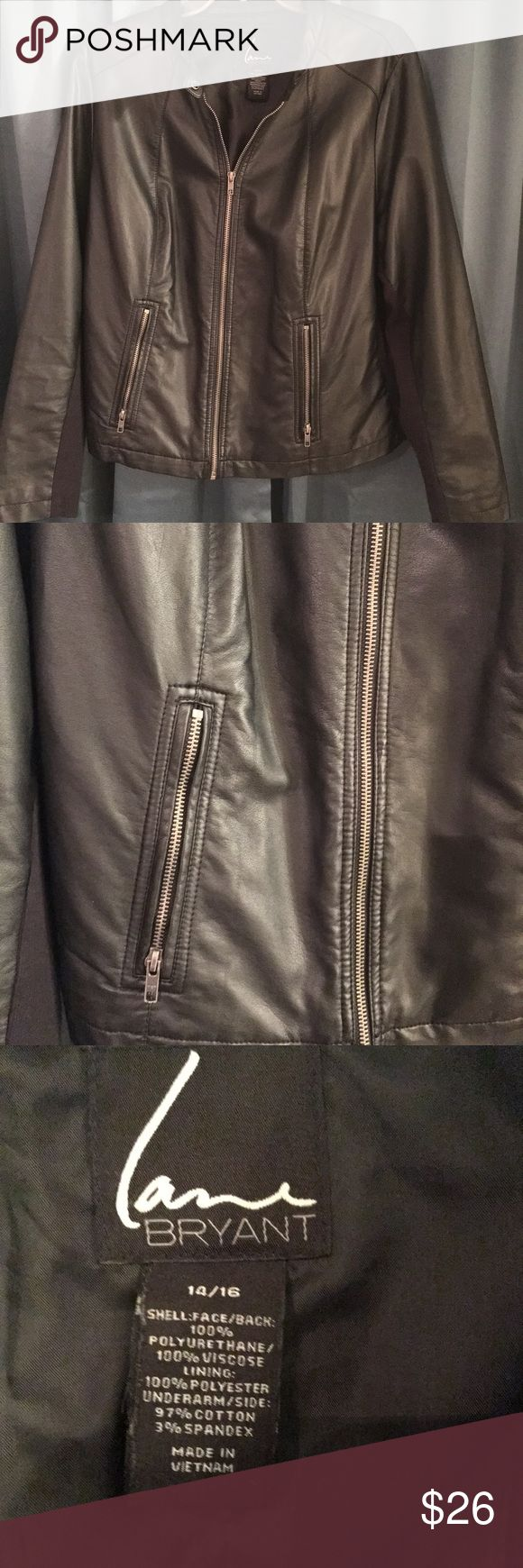 Lane Bryant Faux leather Moto Jacket EUC. All zipper fully functional. In excellent condition, fully lined, snaps closed at the throat;  for extra warmth, pockets in front, unzip. Sized 14/16. Has a cotton poly spandex panel on the inside of the arms and where the arms lay against rib cage for extra stretch. Very comfortable, goes with just about any outfit. Love this jacket, have 2 new ones and need closet space! ✅ Reasonable offers considered  📦📫  Same or next day shipping from…