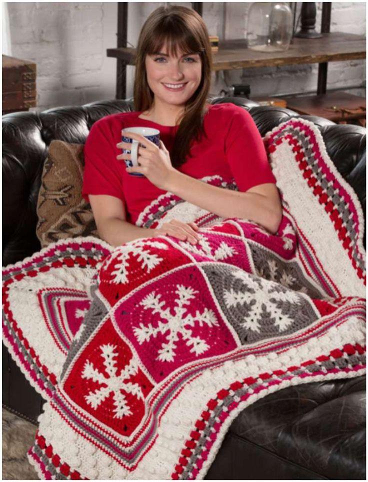 Snowflakes Crochet Throw Free Pattern