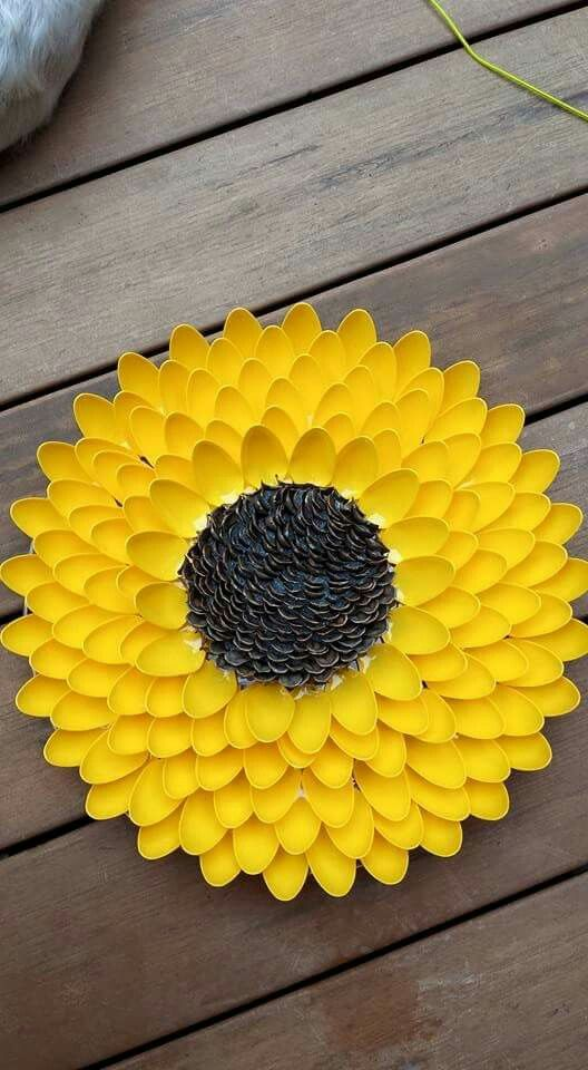 Plastic Spoon Sunflower Plastic Bottle Flowers Plastic