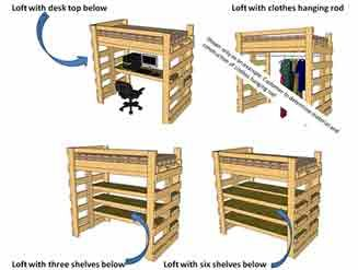 Make A Bunk / Loft Bed With Desk Underneath, Bed Underneath, Shelves And  Clothes