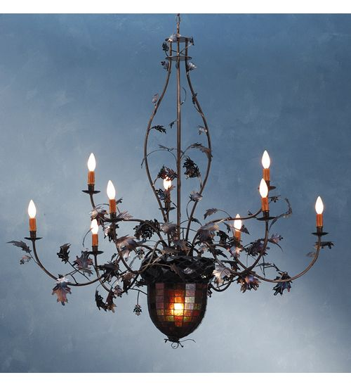 Rustic Chandeliers Acorn Leaf Stained Glass Chandelier