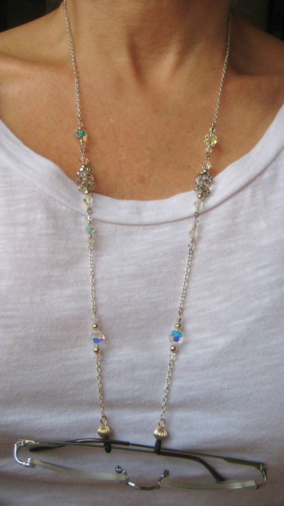 Eyeglass Chain With Swarovski Crystals Choice Of Ends New