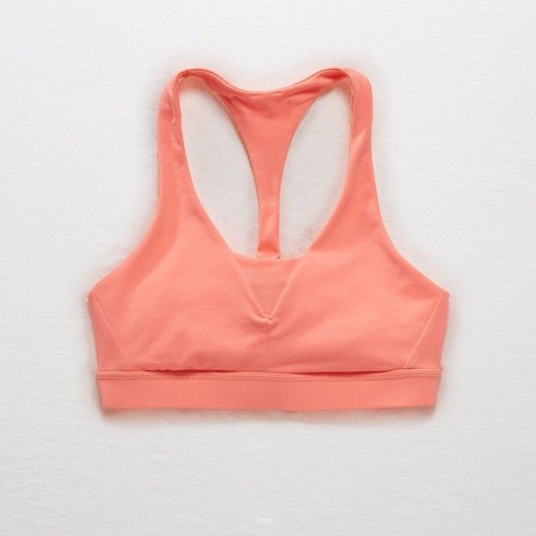 Aerie Chill Sports Bra ($14) ❤ liked on Polyvore featuring activewear, sports bras, orange, red sports bra, aerie sports bra, orange sports bra, racer back sports bra and mesh sports bra