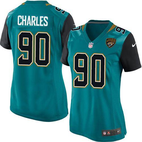 Women's Nike Jacksonville Jaguars #90 Stefan Charles Game Teal Green Team Color NFL Jersey