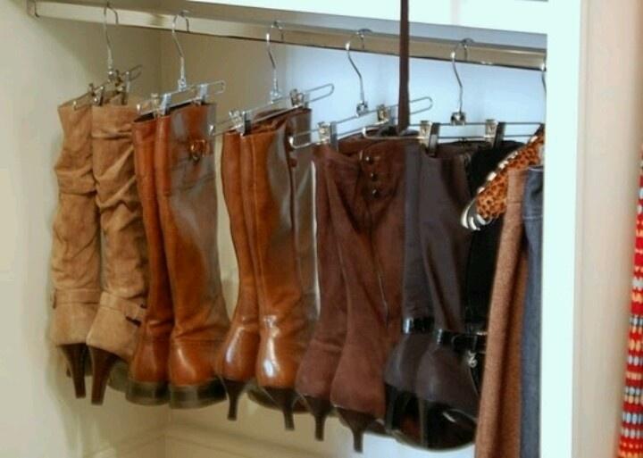 Hang boots on skirt hangers