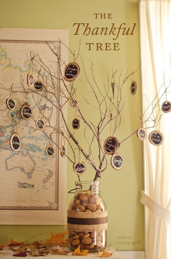 Remind your guests the true meaning of Thanksgiving by presenting this wonderful tree that lists all of the best things in life.  Get the tutorial at Simply Vintage Girl.   - CountryLiving.com