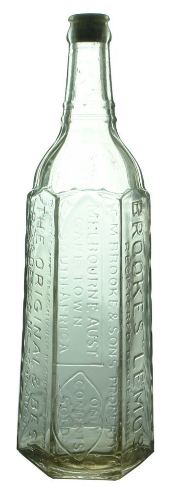 "Auction 27 Preview | 534 | Brooke's Lemos Melbourne Cape Town Crown Seal Cordial Bottle  Brooke's ""Lemos"", Melbourne, Cape Town. Clear. 283 mm. VG, stain, scuffs, flakes, bruises (7.0)  sold 535"