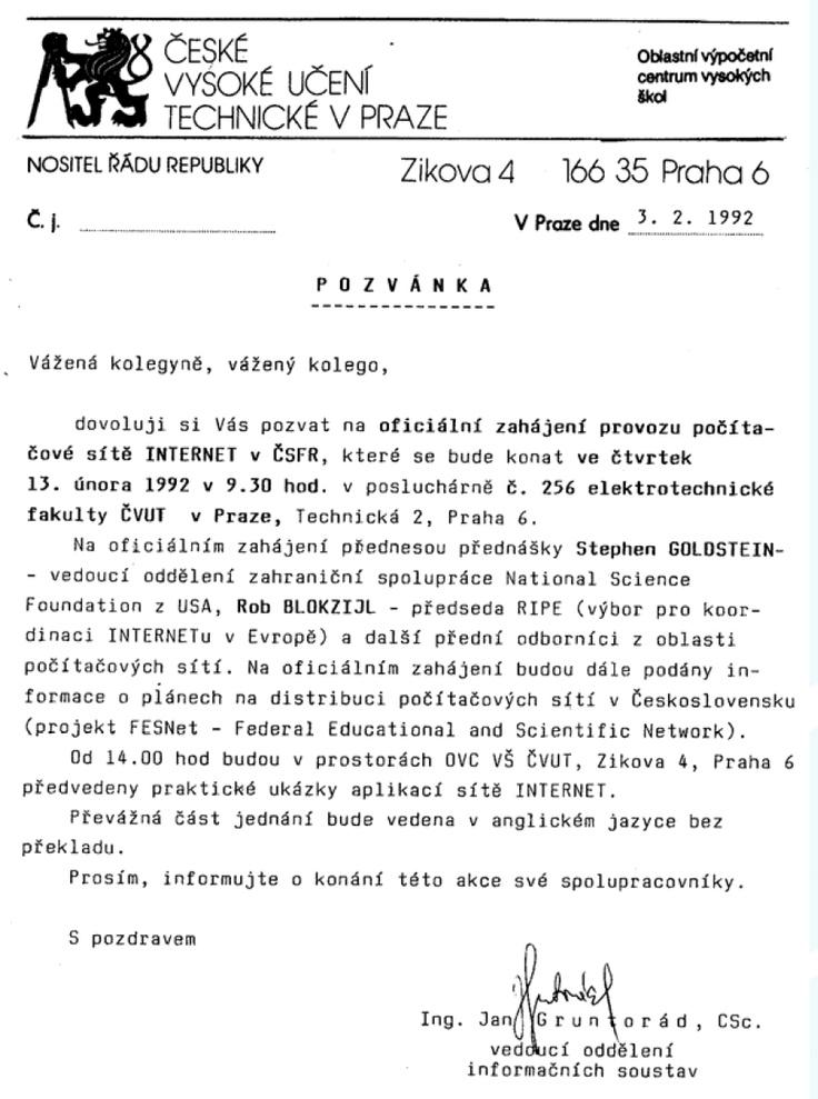 """""""Oficiální zahájení provozu počítačové sítě INTERNET v ČSFR"""""""