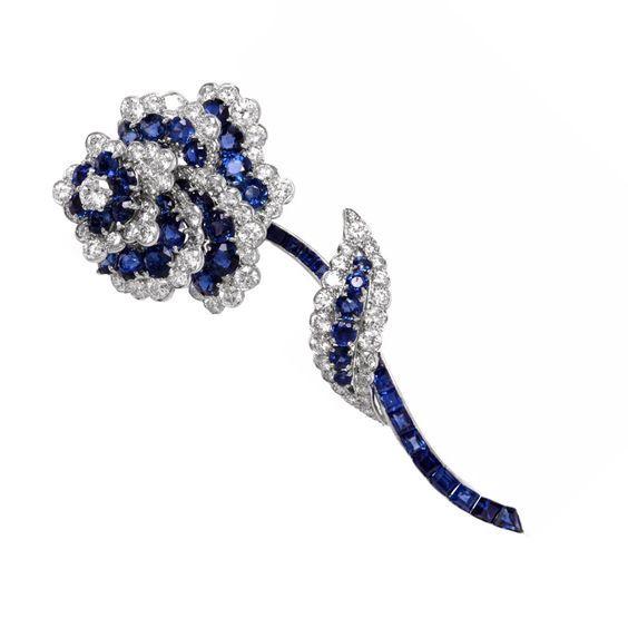 Van Cleef & Arpels Diamond Sapphire Platinum Floral Brooch Pin $49,999